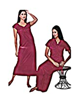 Indiatrendzs Women's Sexy Hot Nighty Red 2pc Set Honeymoon Nightwear