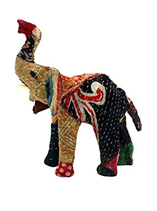 Vintage Sari Fabric Paper Mache Elephant, Multi