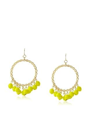 Yochi Yellow Cluster Bead Hoop Earrings