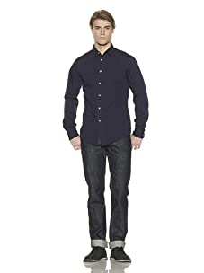Just A Cheap Shirt Men's Classic Solid Button-Front Shirt (Navy)