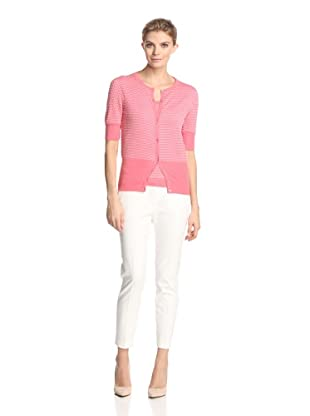 Malo Women's Short Sleeve Dot Cardigan (Pink/White Dots)