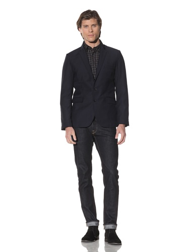 Shades of Grey by Micah Cohen Men's Two-Button Blazer (Navy)
