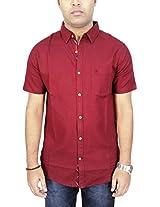AA' Southbay Men's Maroon Linen Dobby Half Sleeve Casual Party Shirt