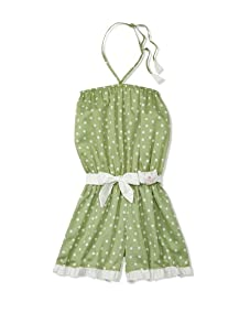 4EverPrincess Girl's Leo Overall (Green/White Polka Dot)