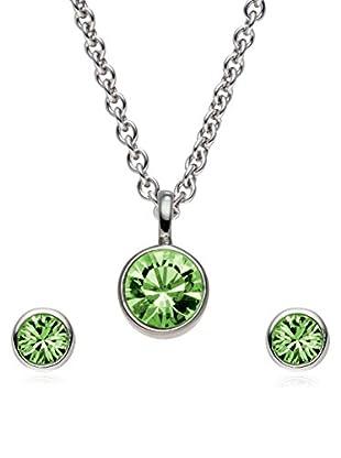 Saint Francis Crystals Set, 3-teilig Kette und Ohrstecker Made With Swarovski® Elements silberfarben/gün