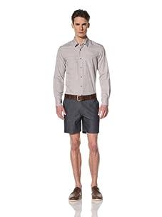 Brent Wilson The Basics Men's Double Pocket Shirt (Greige Stripe Check)