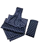 Orosilber White Dots On Blue Cravat With Pocket Square Set
