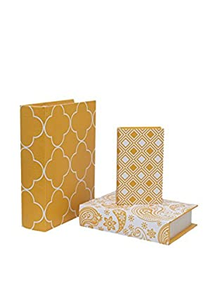Three Hands Set of 3 Yellow Book Boxes