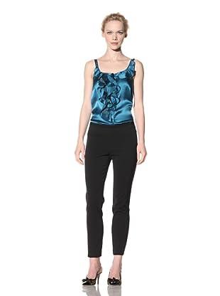 Philosophy di Alberta Ferretti Women's Slim Fit Pant with Topstitching Detail (Black)
