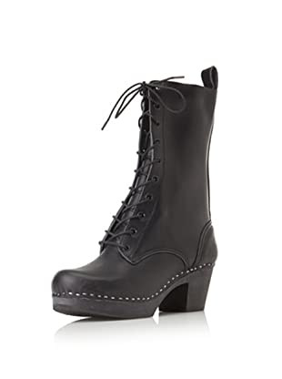 Swedish Hasbeens Women's Lace-Up High Boot (Black/Black)