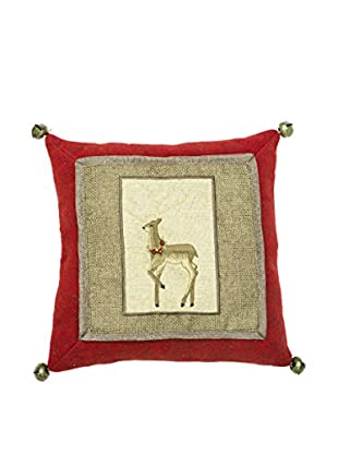 Winward Burlap Reindeer Pillow, Red/Natural