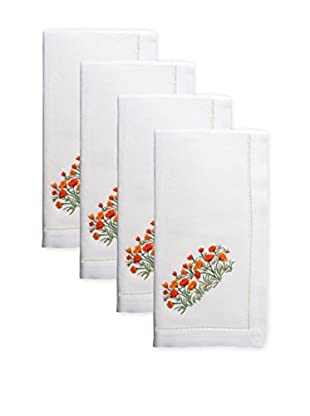Henry Handwork Set of 4 Poppies Embroidered Napkins, White
