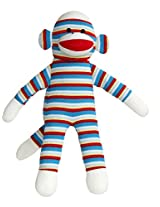 12 Inch Blue Striped Sock Monkey with Velcro Hands