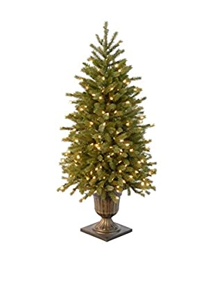 National Tree Company 4' Poly Jersey Fraser Fir Entrance Tree in Bronze Plastic Pot