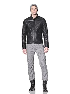 i.am Men's Leather Jacket with Perforated Trim (Black)