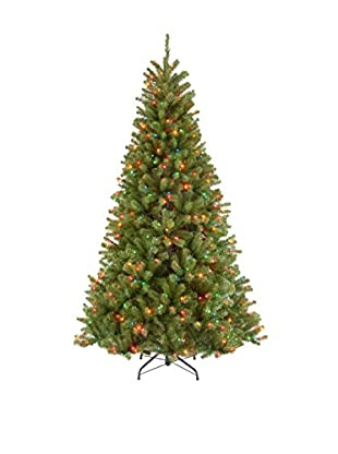 National Tree Company 7.5' North Valley Spruce Hinged Tree with Lights
