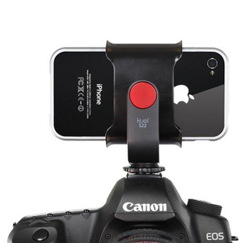 「クエル S22」写真を撮りながら動画も録る!一眼レフのホットシューに取り付けるiPhoneホルダー