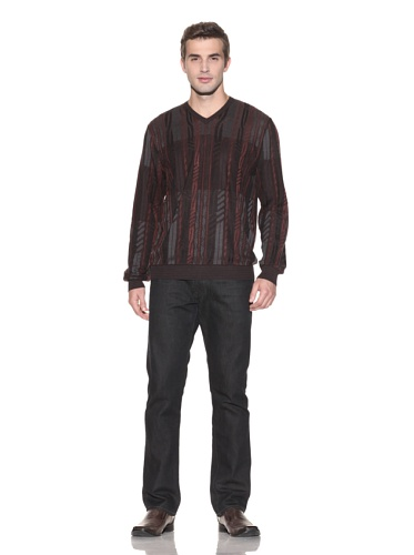 Jhane Barnes Men's Chain Cable V-Neck Sweater (Burgundy)