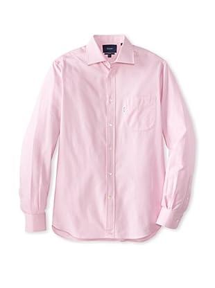 Façonnable Men's Micro Herringbone Classic Spread Collar Dress Shirt (Pink)