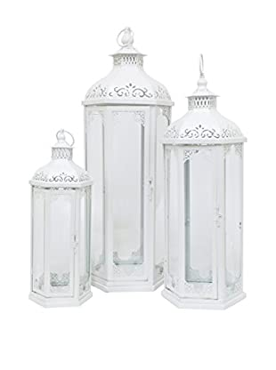 Three Hands Set of 3 Metal Lanterns, White