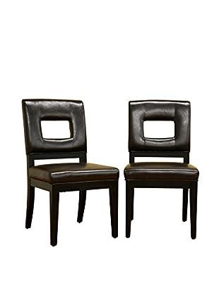 Baxton Studio Set of 2 Diaz Leather Dining Chairs, Dark Brown