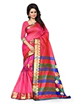 Shree Sanskruti Women's Tassar Silk Saree (Sandy Butta Pink_Pink)