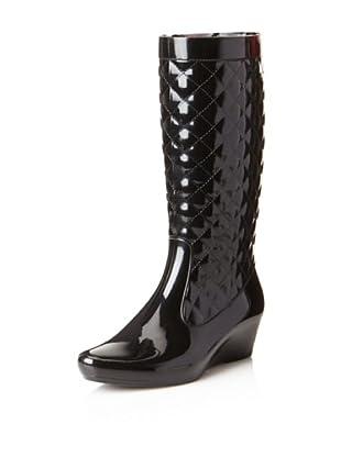 däv Women's Quilted Wedge Rain Boot (Black)