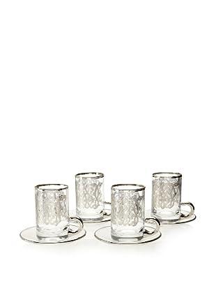 A Casa K Set of 4 Enigma Décor Crystal 6-Oz. Tea Cup & Saucer Set, Clear/Platinum