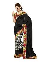 Brijraj White Black Bhagalpuri Silk Beautiful Printed Saree With Unstitch Blouse