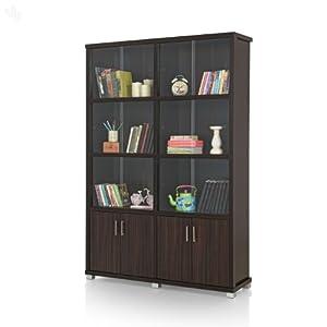 Bookshelf Sliding Doors with Dark Finish - Classic