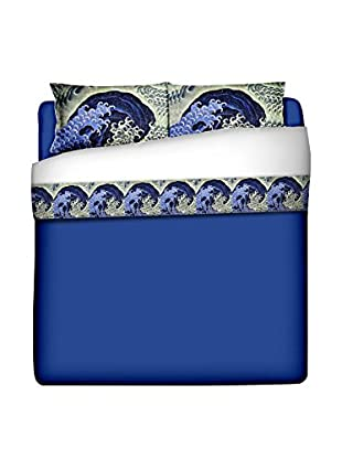 JAPAN MANIA by MANIFATTURE COTONIERE Betttuch und Kissenbezug Katsushika Hokusai-Feminine Wave