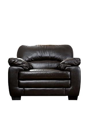 Abbyson Living Lalia Italian Leather Armchair, Dark Truffle