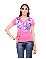 Rang Rage - Hand-painted Breezy Leaves Pink Women's T-shirt - Cotton