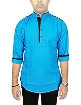 AA' Kuons Avenue Men's Dark Turquoise Cotton Linen Long Sleeve Casual Kurta