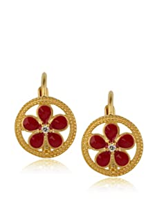 Frida Girl Red Enamel Hanging Flower Earrings