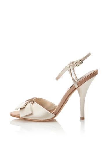 Badgley Mischka Women's Gerdie Bow Peep-Toe Sandal (Vanilla/Caramel)
