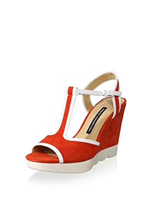 French Connection Women's Jackie Sandal (Coral/White)