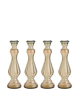 Set of 4 Glass Extra Large Candlesticks, Sand