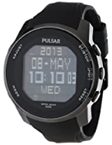 Pulsar Men's PQ2011 Stainless Steel Digital Watch with Black Polyurethane Band