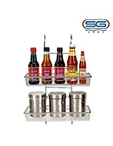 SG Home SG-3407(I) Stainless Steel and Polycarbonate Hanging 2 Tier Multipurpose and T.C.S. Rack (Silver)