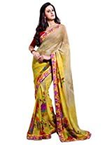 Beige & Yellow Color Georgette Saree with Border and Blouse 6220