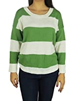 AGB Women's Long Sleeve Striped Sweater Medium Green and White