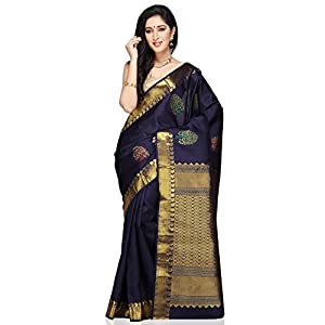 Utsav Fashion Women's Dark Blue Pure Kanchipuram Silk Handloom Saree with Blouse