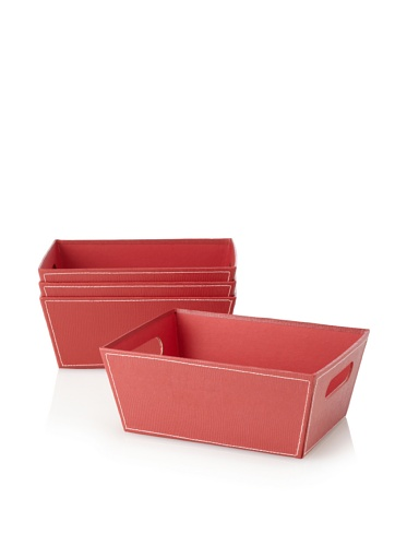 Wald Imports Set of 4 Embossed Paperboard Storage Totes (Red)