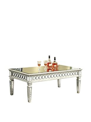 Audrey Mirrored Coffee Table, Silver Leaf