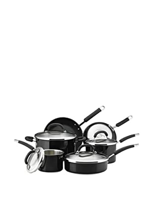 Rachael Ray Colored Stainless Steel Cookware 10-Piece Cookware Set (Black)