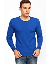 Solid Blue Round Neck Sweater