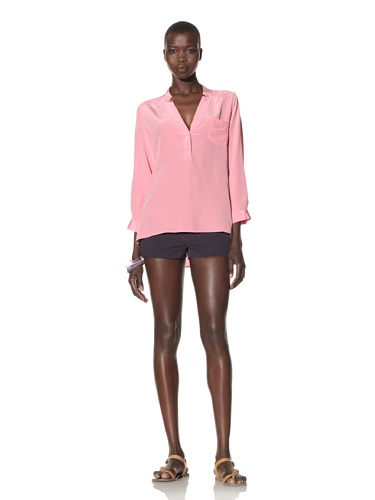 Acrobat Women's Silk Notch Collar Blouse (Pink)