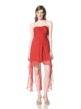Alexia Admor Women's High-Low Strapless Silk Dress (Barbados Cherry)