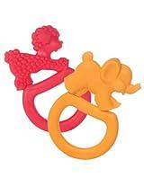 Two Vanilla Teething Rings - Pink Poodle/Orange Elephant
